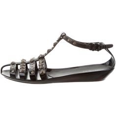 Pre-owned Jimmy Choo Studded Jelly Sandals ($145) ❤ liked on Polyvore featuring shoes, sandals, black, buckle sandals, jelly sandals, black shoes, black buckle shoes and black jelly shoes