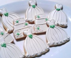 18 Decorated Sugar Cookies Wedding Dress Bridal by AlisSweetTooth, $54.00