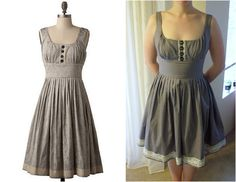 How I modified patterns and recreated a ModCloth dress with grey fabric and ivory lace