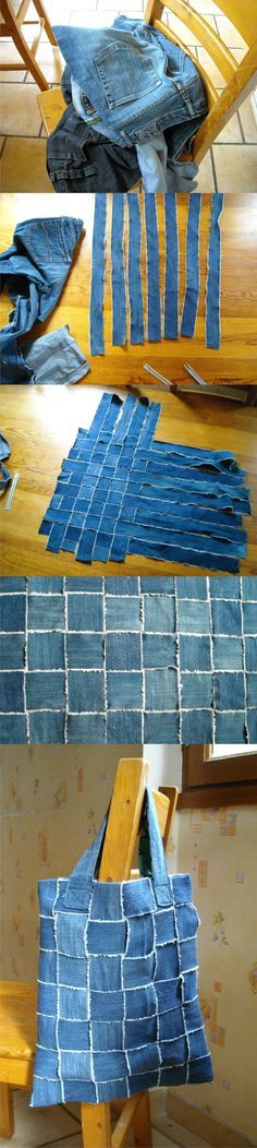 Recycling old denim jeans... into a tote. #diy #reuse