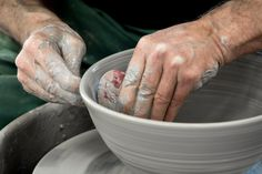 "Using a rubber ""rib"" to form a bowl 