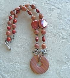 Banded Jasper and Kazuri Bead Necklace by fairchic on Etsy, $35.00