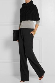 Stilo: Hohe, gerade Hose im Palazzo-Stil ❤️❤️ – Stilo: high, straight trousers in palazzo style ❤️❤️ – style … Mode Outfits, Casual Outfits, Fashion Outfits, Fashion Moda, Work Fashion, Style Casual, Style Me, Palazzo Style, Cashmere Cape
