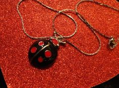 "Lady Bug Pendant and 16"" Silver Plated Chain"