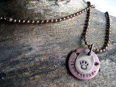 Pet Memorial Pendant Necklace - Copper - Brass - Aluminum Backer - Personalized Memorial Necklace - Antique Copper Ball Chain by woowooworkshop on Etsy https://www.etsy.com/listing/208891135/pet-memorial-pendant-necklace-copper