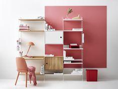 Scandinavian Shelves, Scandinavian Furniture, Scandinavian Design, Built In Shelves, Metal Shelves, Home Office, String System, Modular Shelving, Deco Design