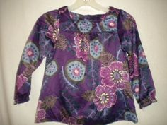 Baby Gap Toddler Size 4 Years Purple Fuchsia Periwinkle Floral Girls Top Shirt #Gap #Casual