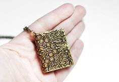 Gold book necklace Teacher gift Mini book pendant Book lover