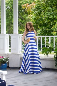 Striped ballgown.