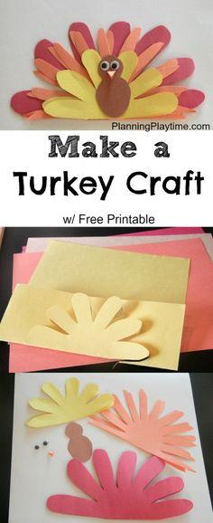 Cute Turkey Craft w/ FREE Printable Template - #Thanksgiving #Turkey #Craft