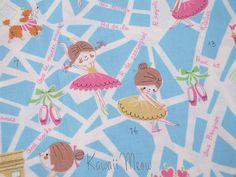 SALE  KOKKA Cute Ballerina Blue  Half Yard 11co1006 by KawaiiMeow, $7.60