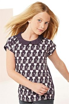 Girl's Clothing Online - 3 to 16 years - Next Cat Print Collar Top - EziBuy New Zealand