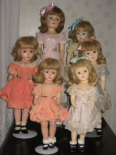 """A group of Wendy Ann's various sizes from 14"""" to 21"""" I believe. All Madame Alexander"""
