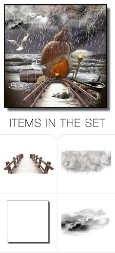 """""""Finding Shell-ter in the Rain"""" by jroy1267 ❤ liked on Polyvore featuring art, ocean, rain, surrealism and polyvoreart"""