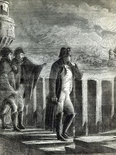 Napoleon watching the Fire of Moscow in 1812. Engraving, English School.