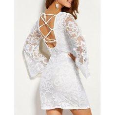 #DressLily - #Dresslily Long Sleeve Back Lace Up Dress - AdoreWe.com