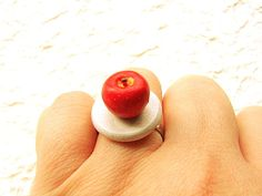 Food Ring Apple White by SouZouCreations on Etsy, $8.50