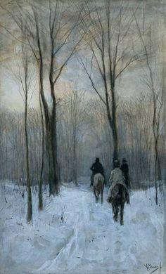 """Anton Mauve  """"Jinetes en la nieve en los bosques de La Haya"""""""