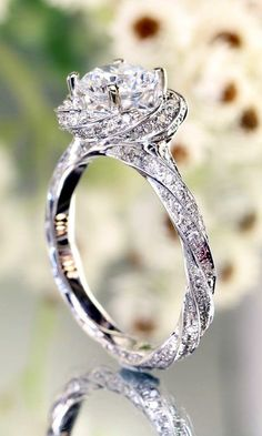 stunning twist halo wedding engagement ring by oldrose - Rose Wedding Rings