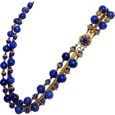 Vintage Miriam Haskell Lapis Blue Glass Bead Chain Triple Strand Necklace by The Vintage Carousel a Ruby Lane Shop