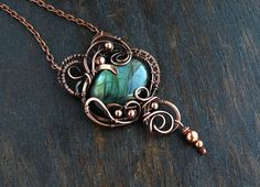 Unique jewelry Boho pendant Wife gift for her Wire wrap