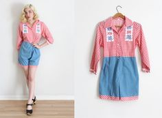 vintage 1960s romper // 60s gingham playsuit by TrunkofDresses
