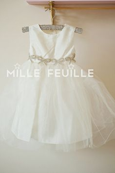 couture flower girl dress elegant crystal bows tulle - sleeveless mini bride - special occasion - princess ivory, off white