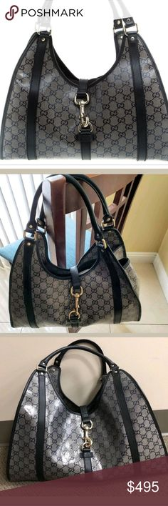 69d65d4329d GUCCI💋AUTHENTIC GREY CRYSTAL JACKIE O SATCHEL GUCCI💋💋AUTHENTIC GREY  CRYSTAL MEDIUM JACKIE