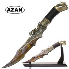 White Gold Dragon Fantasy Dagger With Stand