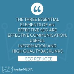 The three essential elements of an effective SEO are...