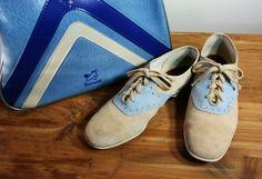 Vintage Ladies Brunswick Bowling Shoes and Bag