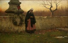 All Souls' Day, J Schikaneder 1888. This oil painting shows an elderly woman after placing a wreath upon the tombstone of her loved one. Allhallowtide