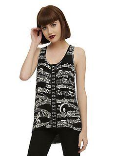 Black & White Sheet Music Girls Tank Top, BLACK