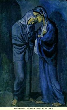 Pablo Picasso. The Visit (Two Sisters). 1902. Oil on canvas pasted on panel. The Hermitage, St. Petersburg, Russia.