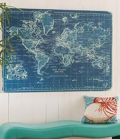 Monumentally scaled and visually striking, our Azure World Map Artwork makes a design impact of global proportions.