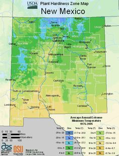 New Mexico Planting Zone Map Small