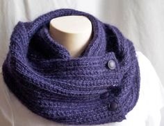 Knit yourself this Infinity Scarf - Pattern knitting Cowl Scarf Purple Violet Mohair DIGITAL PDF PATTERN via Etsy