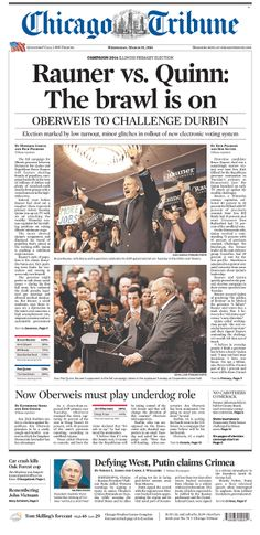 """Chicago Tribune looks ahead to Illinois governor's race: """"Rauner vs. Quinn: The brawl is on"""""""