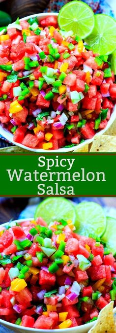 Spicy Watermelon Salsa has a fabulous contrast of sweet and spicy. It's a cool, refreshing summer salsa with tons of flavor! Watermelon Salsa, Watermelon Recipes, Watermelon Appetizer, Cheap Clean Eating, Clean Eating Snacks, Summer Salsa, Cooking Recipes, Healthy Recipes, Salsa Recipe