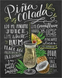 Lily and Val Piña-Colada Recipe Poster at Posterlounge ✔ Free delivery ✔ Free … – Photos + - My CMS Cocktail Drinks, Alcoholic Drinks, Beverages, Party Drinks, Lily And Val, Chalkboard Print, Chalkboard Pictures, Pineapple Rum, Cocktail Recipes