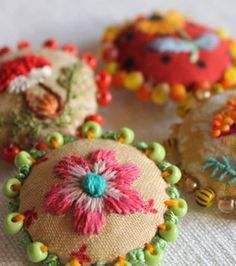 Embroidered and beaded buttons - these are darling! Lovely example of hand embroidery in unexpected places. Just a tiny detail can make all the difference! Ribbon Embroidery, Beaded Embroidery, Cross Stitch Embroidery, Embroidery Patterns, Art Patterns, Crochet Patterns, Little Presents, Fabric Jewelry, Button Crafts