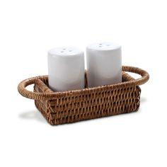 Porta saleiro e pimenteiro com suporte em rattan e ceramica  10x6x4 cm(k)
