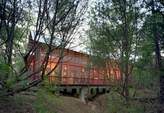 """A film writer and director asked Austin, Texas–based architect <a href=""""http://www.pantonarchitect.com/"""">Henry Panton</a> to build  a bunkhouse with a huge screen porch for family and guests on his  40-acre property in Bastrop, Texas, about 30 miles outside Austin.  Situated over a dry creek bed and carefully crafted around the existing  loblolly pine trees, the bunkhouse """"is sort of like a bridge into the  woods,"""" says Panton, who adds that the 1,400-square-foot structure,  which can ..."""
