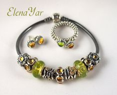 PANDORA Oxidized Bracelet with Citrine n Lime Green. Matching Rings & Earrings Too.