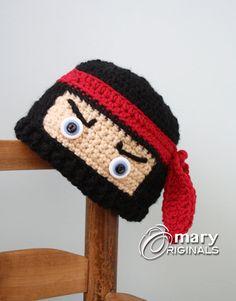 Ninja Hat Ninja Mask Hat Crochet Beanie Boy's by MaryOriginals