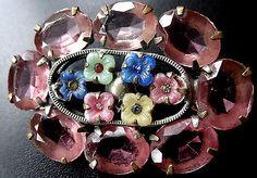 vintage art deco multi colour glass flower rhinestone gold tone brooch c pin 223