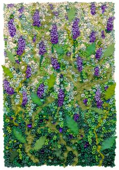 Grape Hyacinths by Kirsten's Fabric Art Hand embroidery, French knots, beads, yarns, applique and couching. Silk Ribbon Embroidery, Beaded Embroidery, Embroidery Stitches, Hand Embroidery, Embroidery Designs, Japanese Embroidery, Flower Embroidery, Embroidered Flowers, Fabric Postcards