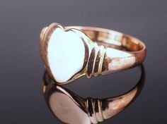 Rose Gold Signet Ring with Heart Signet Antique Signet Ring