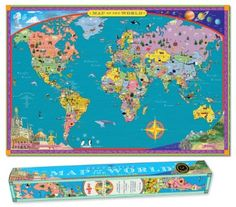 Amazon.com: World MAP Kids Geography Educational Poster Art: Toys & Games