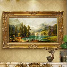 Hand-Painted Thomas Kinkade Landscape Oil Painting quiet village for living room wall canvas painting decorative paintings